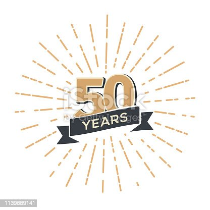 Fifty years anniversary retro vector emblem isolated template Vintage icon fiftieth years with ribbon and fireworks on white background