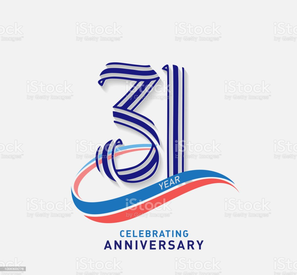 31 years Anniversary ribbon shape numbers with swoosh. Celebrating anniversary event party template. vector art illustration