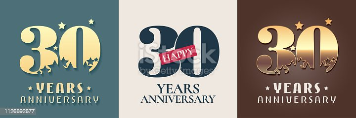 30 years anniversary set of vector icon, symbol. Graphic design elements for 30th anniversary birthday card