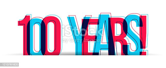 istock 100 Years! Anniversary sign isolated on a white background 1213761820