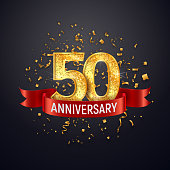 50 years anniversary template on dark background Fifty celebrating golden numbers with red ribbon vector and confetti isolated design elements