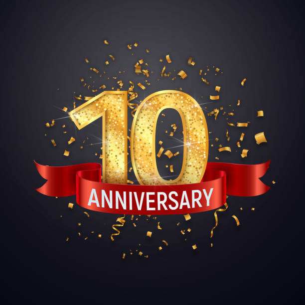 10 years anniversary template on dark background. Tenth celebrating golden numbers with red ribbon vector and confetti isolated design elements. 10 years anniversary template on dark background Tenth celebrating golden numbers with red ribbon vector and confetti isolated design elements invitational stock illustrations