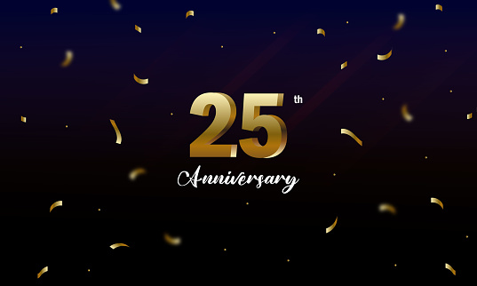 25 years anniversary vector banner template, anniversary background. stock illustration