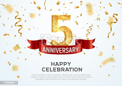 5 years anniversary vector banner template Five year jubilee with red ribbon and confetti on white background