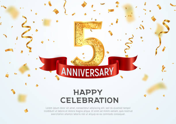 5 years anniversary vector banner template. Five year jubilee with red ribbon and confetti on white background. 5 years anniversary vector banner template Five year jubilee with red ribbon and confetti on white background anniversary backgrounds stock illustrations