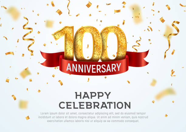 100 years anniversary vector banner template. Hundred year jubilee with red ribbon and confetti on white background. 100 years anniversary vector banner template Hundred year jubilee with red ribbon and confetti on white background 100th anniversary stock illustrations