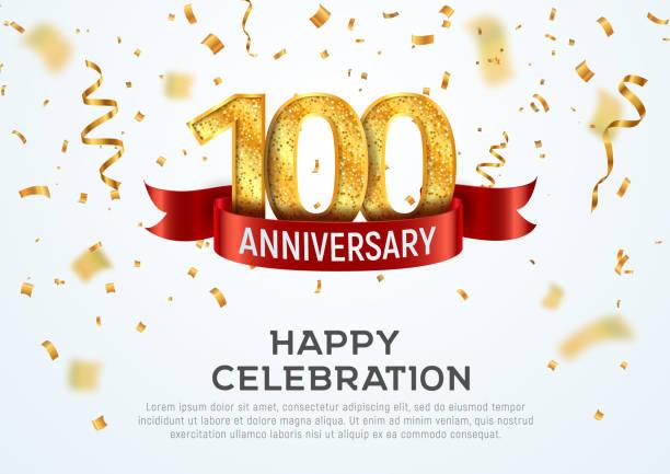 bildbanksillustrationer, clip art samt tecknat material och ikoner med 100 års jubileum vektor banner mall. hundraårsjubileum med rött band och konfetti på vit bakgrund. - nummer 100