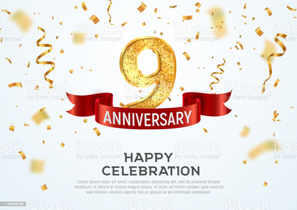 9 Years Anniversary Vector Banner Template Nine Year Jubilee With Red Ribbon And Confetti On White Background Stock Illustration Download Image Now Istock