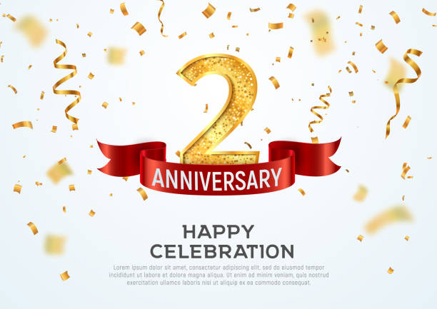 2 years anniversary vector banner template. Two year jubilee with red ribbon and confetti on white background. 2 years anniversary vector banner template Two year jubilee with red ribbon and confetti on white background gezond stock illustrations