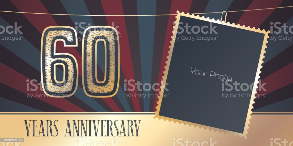 60 years anniversary vector emblem in vintage style vector art illustration
