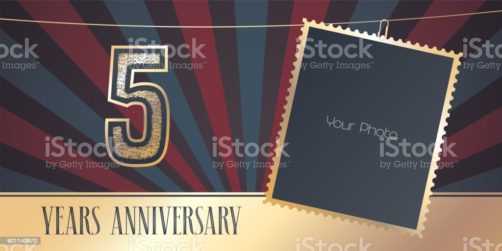 5 years anniversary vector emblem in vintage style vector art illustration