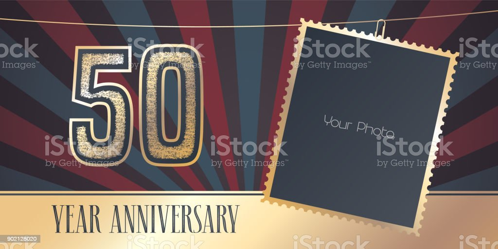 50 years anniversary vector emblem in vintage style vector art illustration