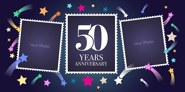 50 Years Anniversary Vector Emblem Stock Vector Art & More Images of Anniversary