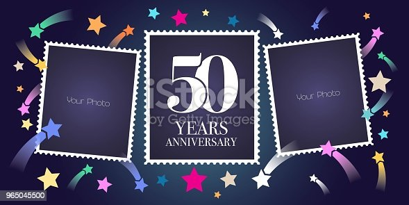 50 Years Anniversary Vector Emblem Stock Vector Art & More Images of Anniversary 965045500