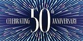 50 years anniversary vector icon, banner