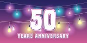 50 years anniversary vector icon, banner