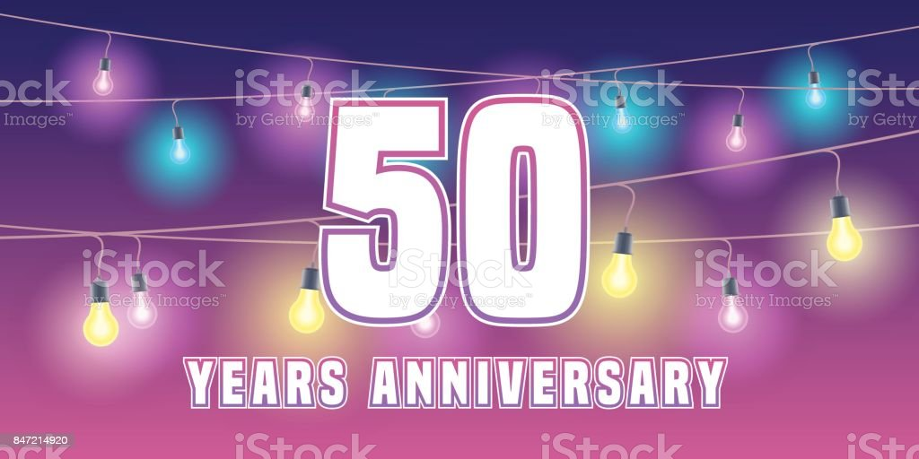 50 years anniversary vector icon, banner vector art illustration