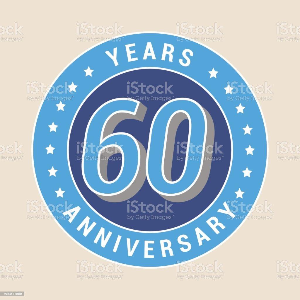 60 years anniversary vector icon, emblem vector art illustration