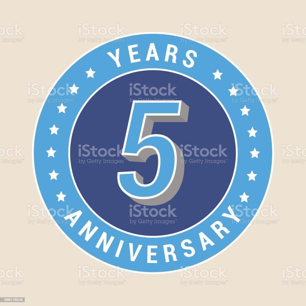 5 years anniversary vector icon, emblem vector art illustration
