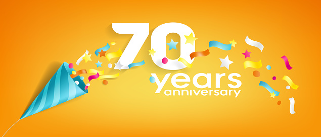 70 years anniversary vector icon, greeting card. Design element with slapstick for 70th anniversary