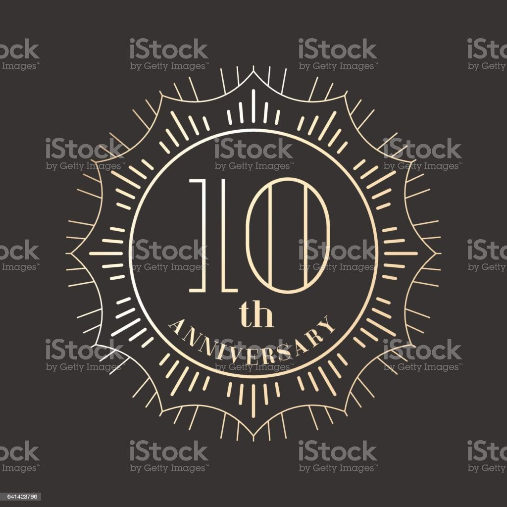 10 years anniversary vector icon, logo royalty-free 10 years anniversary vector icon logo stock illustration - download image now