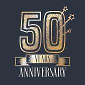 50 years anniversary vector icon, logo
