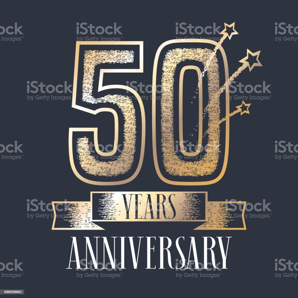 50 years anniversary vector icon, logo vector art illustration