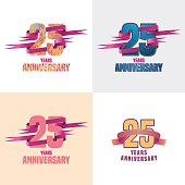 25 years anniversary vector icon set