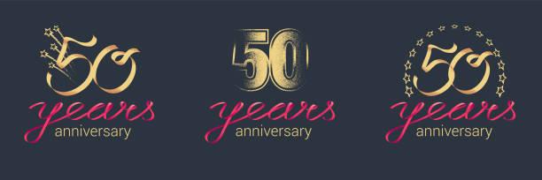 Aniversário de 50 anos Conjunto de ícones do vetor - ilustração de arte em vetor
