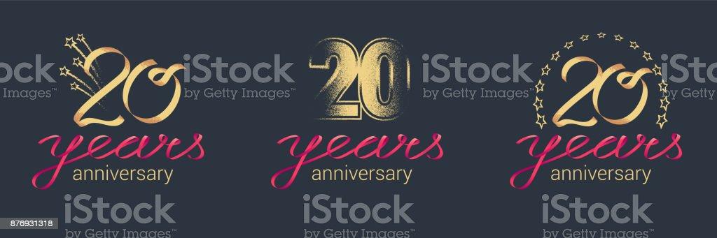 20 years anniversary vector icon set vector art illustration