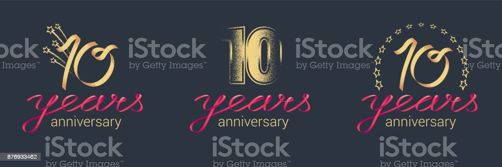 10 years anniversary vector icon set royalty-free 10 years anniversary vector icon set stock illustration - download image now