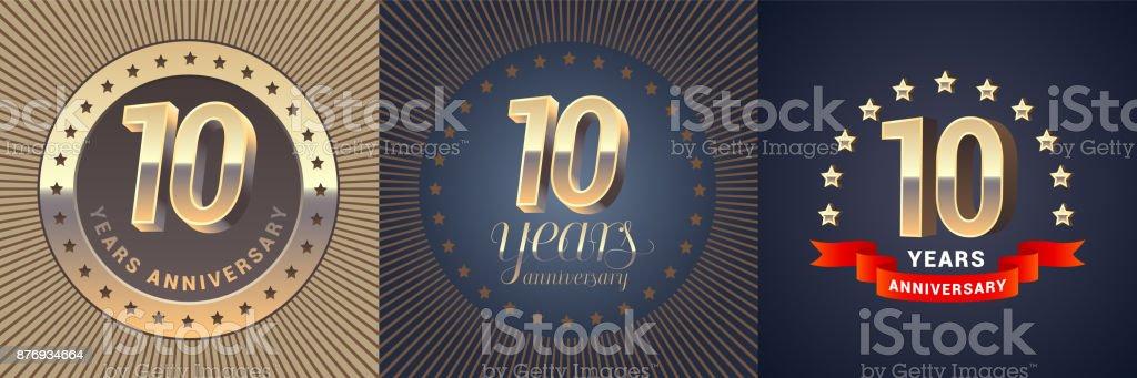 10 years anniversary vector icon set vector art illustration