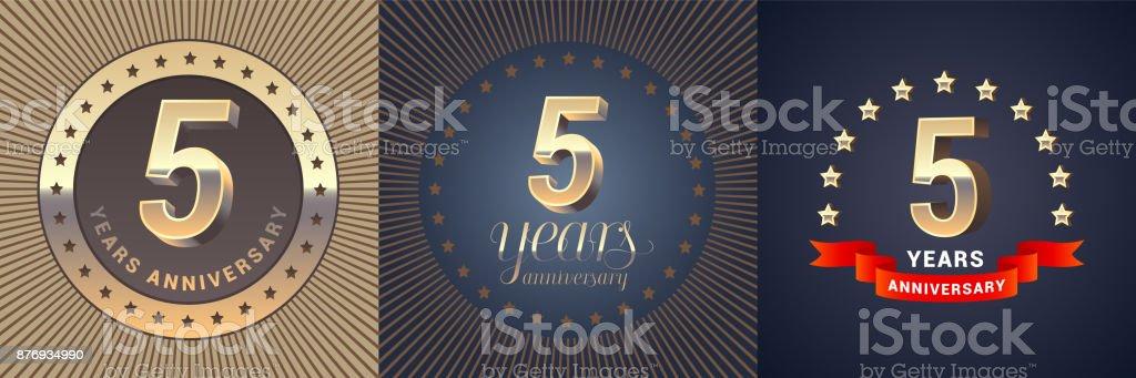 5 years anniversary vector icon set vector art illustration