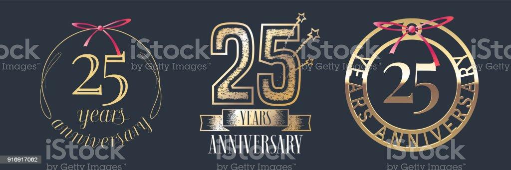 25 Jahre Jubiläum Vektor Symbol-set – Vektorgrafik