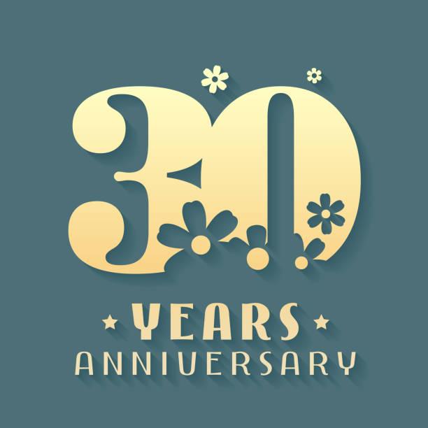 30 Year Anniversary Symbol: Best Thirty Birthday Illustrations, Royalty-Free Vector