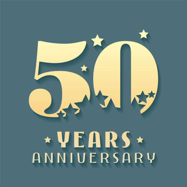 bildbanksillustrationer, clip art samt tecknat material och ikoner med 50 år jubileum vektor icon, symbol - talet 50