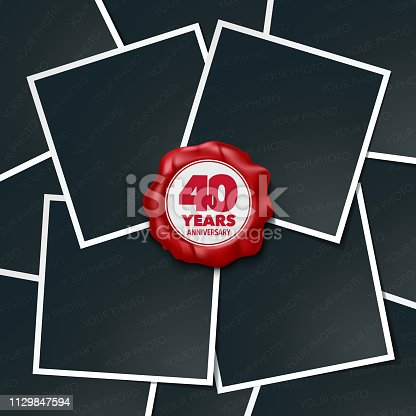 40 years anniversary vector icon. Design element, greeting card with collage of photo frames and red wax stamp for 40th anniversary