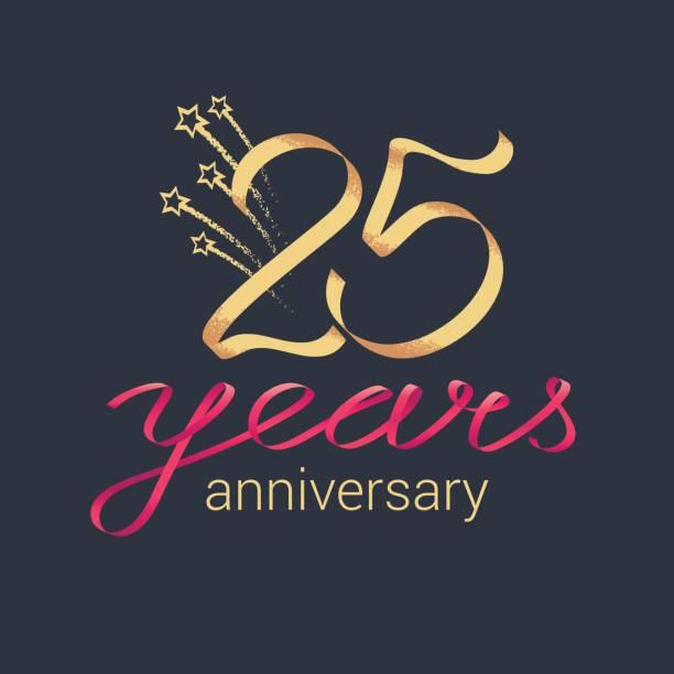 bildbanksillustrationer, clip art samt tecknat material och ikoner med 25 års jubileum vektor symbol - 25 29 år