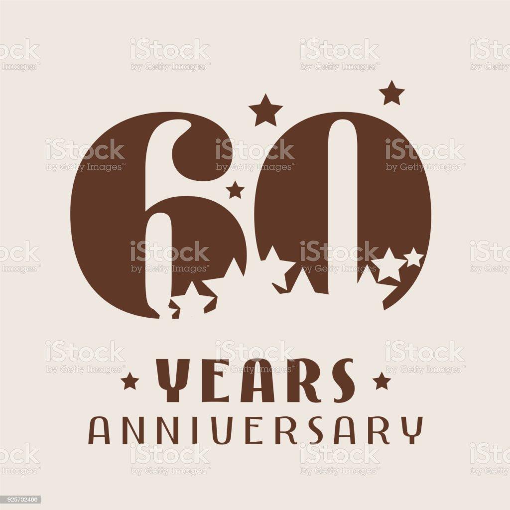 60 years anniversary vector icon - illustrazione arte vettoriale