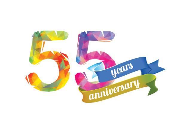bildbanksillustrationer, clip art samt tecknat material och ikoner med 55 (femtio fem) år jubileum. - 55 59 år