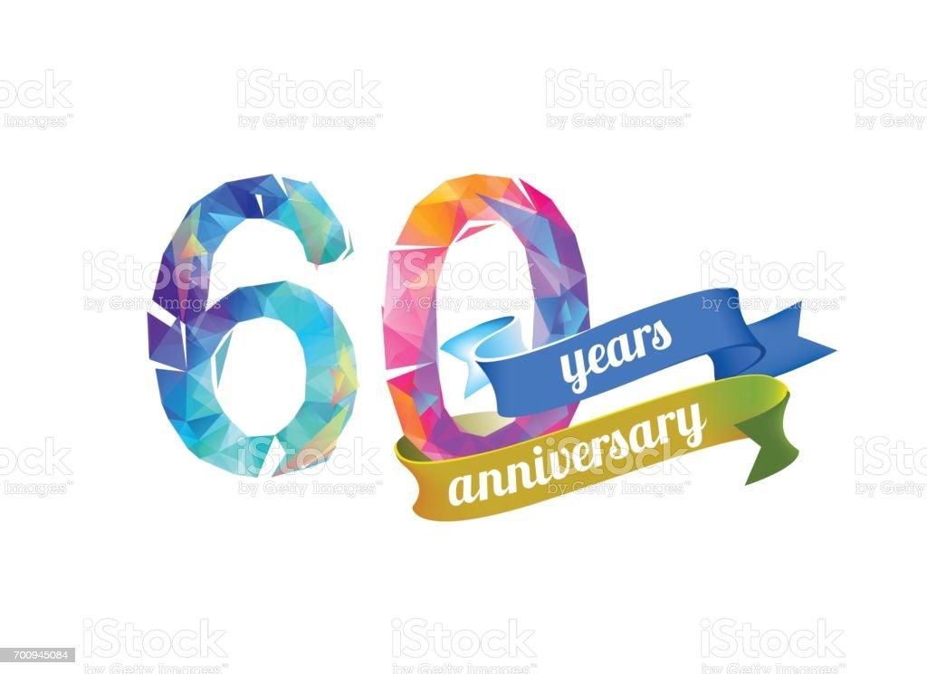60 (sixty) years anniversary. - illustrazione arte vettoriale