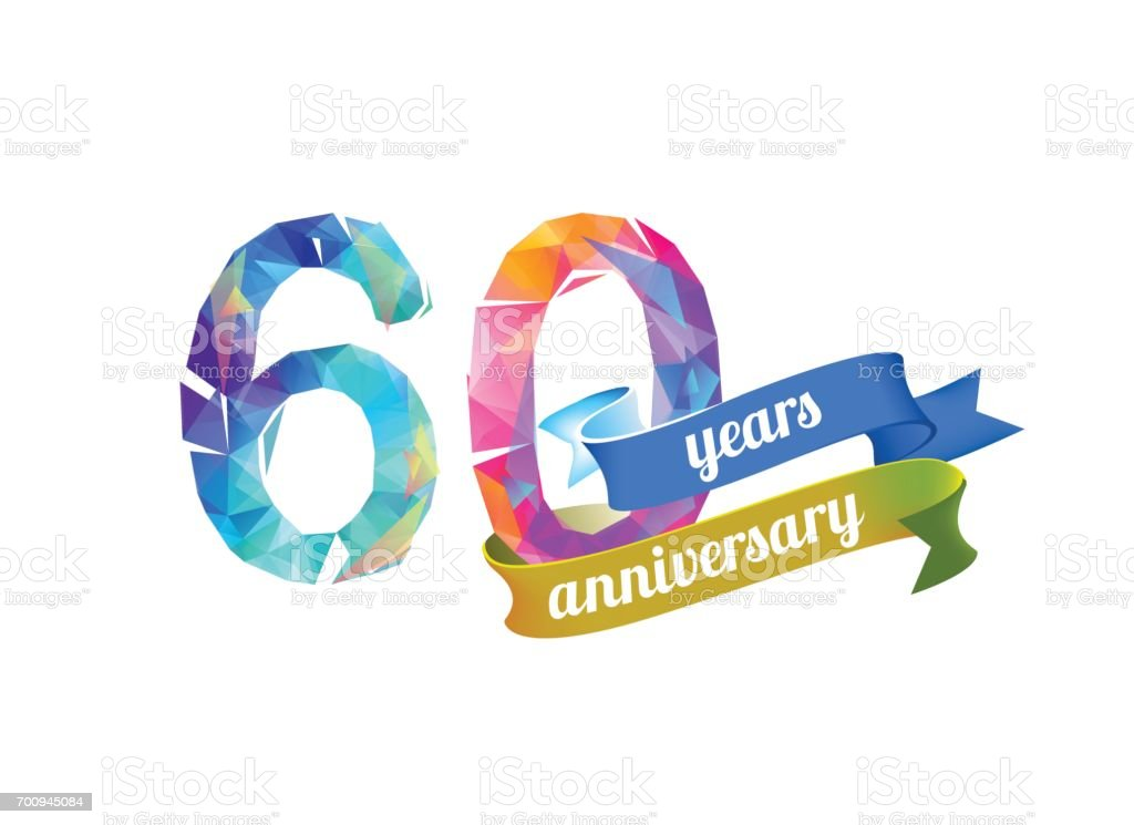60 (sixty) years anniversary. vector art illustration