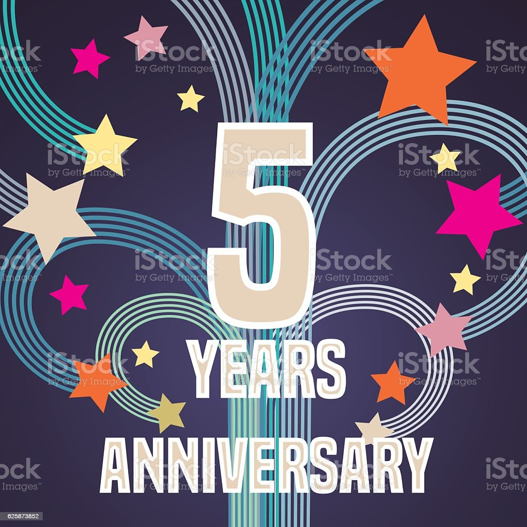 5 Years Anniversary Vector Illustration Banner Flyer Icon Symbol