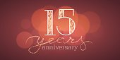 15 years anniversary vector illustration, banner, flyer, icon, symbol, sign