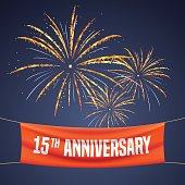 15 years anniversary vector illustration, banner, flyer