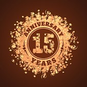 15 years anniversary vector illustration, banner, icon, sign