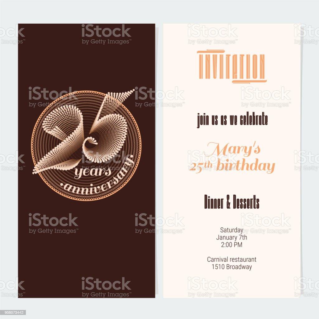 25 Jahre Jubiläum-Vektor-illustration – Vektorgrafik