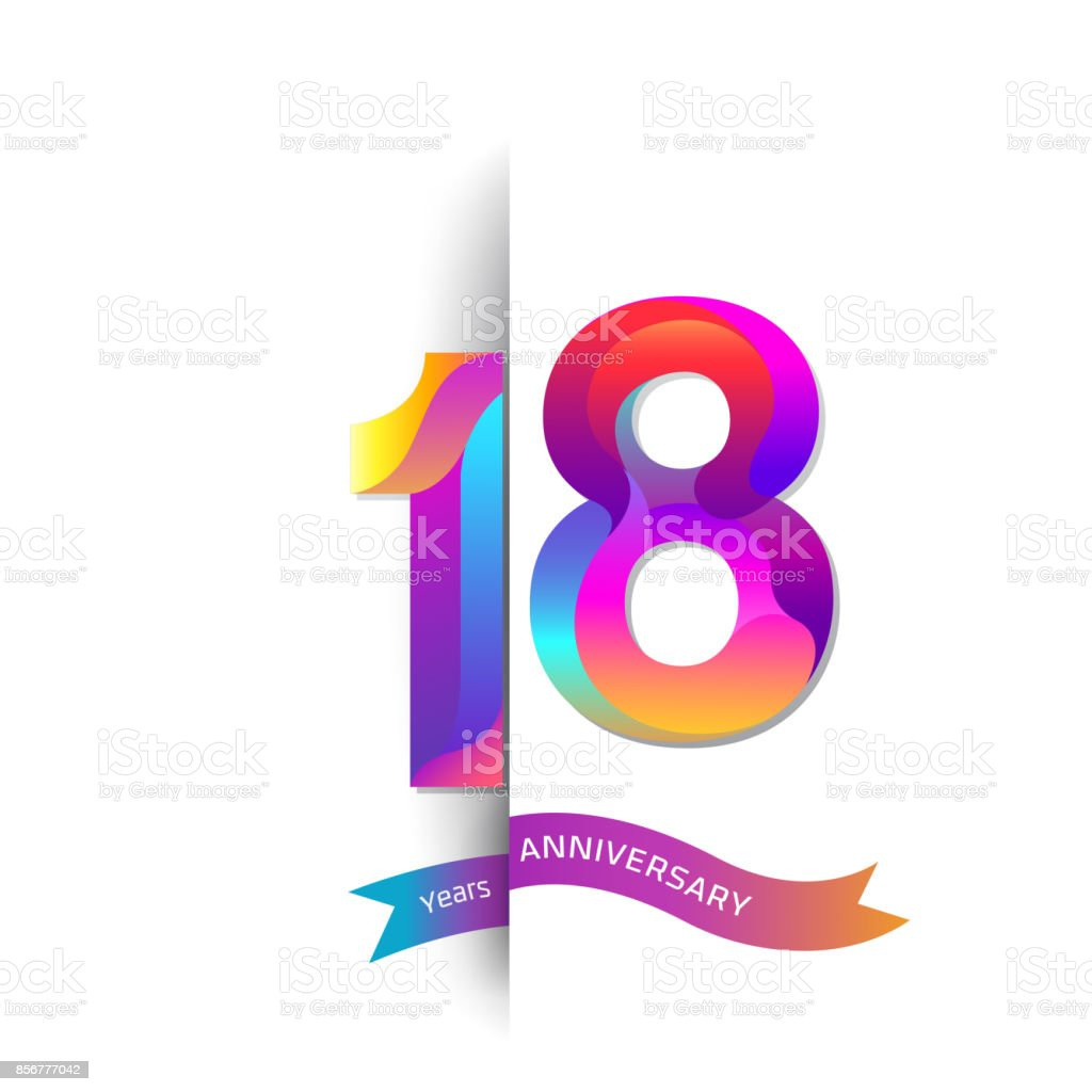 18 Years Anniversary with colorful stylized number. Applicable for brochure, flyer, Posters, web and Banner Designs. Vector illustration vector art illustration