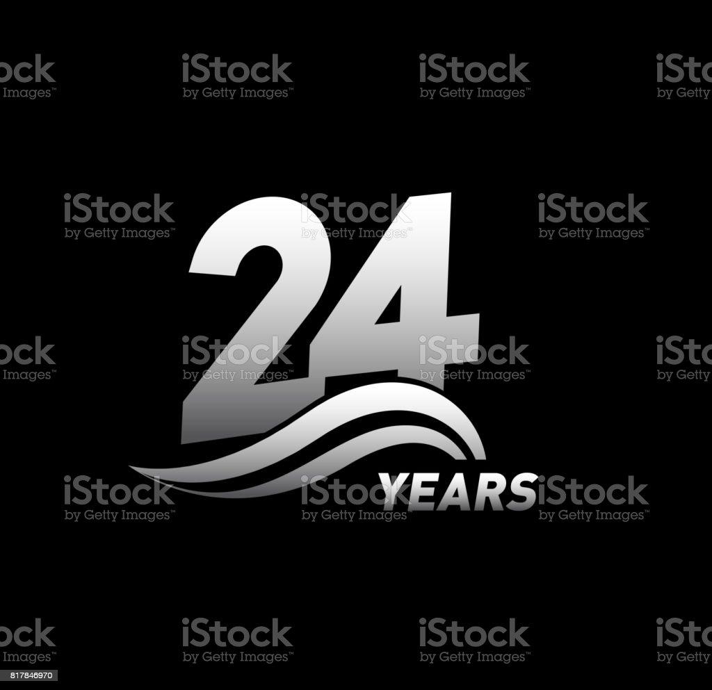 24 Jaar Verjaardag Met Swoosh Viering Ontwerp Logo Stockvectorkunst