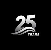 25 Years Anniversary with swoosh Celebration Design logo